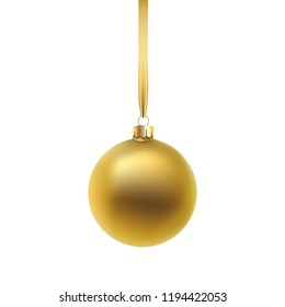Gold Christmas ball, isolated on white background. Vector illustration.