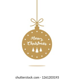 Gold christmas ball ornament with merry christmas text and shadow.