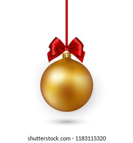 Gold Christmas bauble with red ribbon and bow on white background. Vector illustration.
