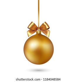 Gold Christmas bauble with ribbon and bow on white background. Vector illustration.