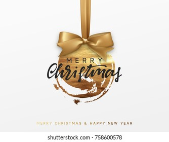 Gold Christmas card, design with Xmas golden bauble ball on ribbon