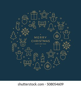 gold christmas icons elements circle blue background