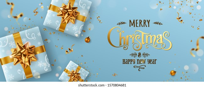 Gold Christmas and New Year Text on blue Xmas background with gift boxes, fir branches, gold ribbon, decoration, sparkles, confetti, bokeh. Merry Christmas card. Vector Illustration, realistic vector