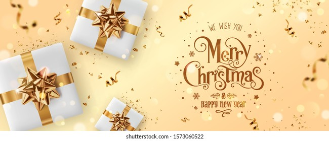 Gold Christmas and New Year Text on gold Xmas background with gift boxes, fir branches, gold ribbon, decoration, sparkles, confetti, bokeh. Merry Christmas card. Vector Illustration, realistic vector