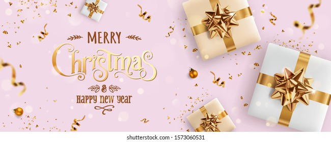 Gold Christmas and New Year Text on pink Xmas background with gift boxes, fir branches, gold ribbon, decoration, sparkles, confetti, bokeh. Merry Christmas card. Vector Illustration, realistic vector