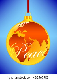 A Gold Christmas Ornament in the shape of the Earth with Peace written across the front - Shutterstock ID 83567908