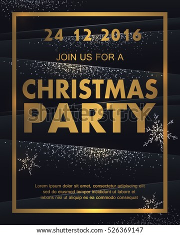 gold christmas party poster with silver snowflakes happy new year flyer holiday greeting card