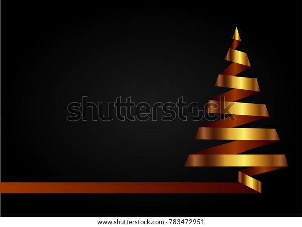 Gold christmas tree made from ribbon on dark background. Vector illustration. Marry Christmas and Happy New Year poster, flyer, gritting card or banner