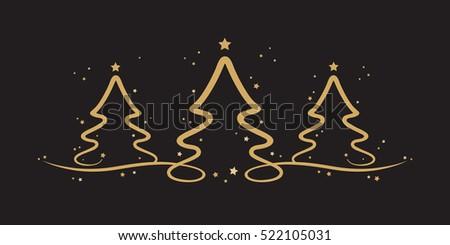 gold christmas trees stars black background - Black And Gold Christmas Tree