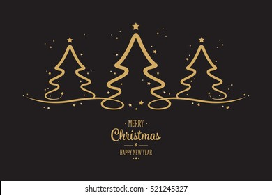 gold christmas trees stars greeting black background