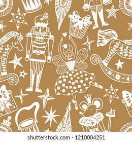 Gold Christmas vector seamless Nutcracker pattern.  Seamless pattern can be used for wallpaper, pattern fills, web page background, surface textures.