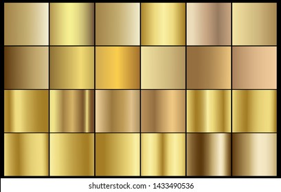 Gold chrome metal texture vector icon set. Shiny golden brushed vector metallic gradient background for banner, ribbon, label, medal, button, money. Gold abstract background chrome gradient template