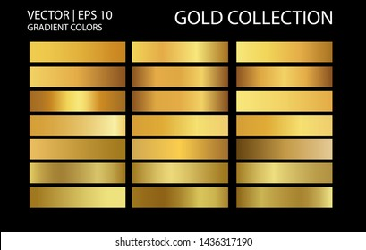 Gold chrome metallic texture vector icon set. Shiny golden brushed vector metallic gradient background for banner, ribbon, label, medal, button, money. Gold abstract background gradient template