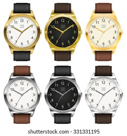 Gold and chrome watches, six classic design expensive watch set. Vector illustration.