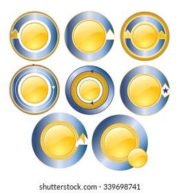 Gold circle banner blue