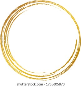 A gold circle drawn with a brush