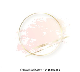 Gold circle frame with pastel nude pink texture and shadow, golden brush strokes isolated on white background. Geometric round shape border in golden foil for cosmetics, beauty, makeup template.