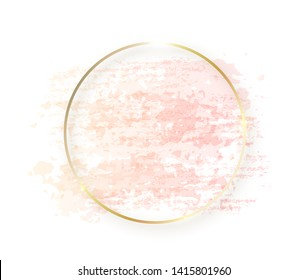 Gold circle frame with pastel nude pink texture and shadow isolated on white background. Geometric round shape border in golden foil for cosmetics, beauty, makeup template.