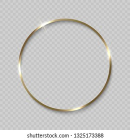 Gold circle frame with shiny borders on transparent background
