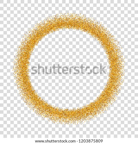 gold circle glitter frame golden confetti dots round white transparent background bright texture