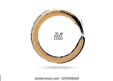 Gold circle. Hand drawn round design element for logo, business, corporate identity. Enso zen calligraphy brush stroke.