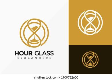 Gold Circle Hour Glass Logo Design, Creative modern Logos Designs Vector Illustration Template