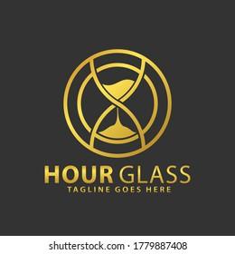 Gold Circle Hour Glass Logos Design Vector Illustration Template