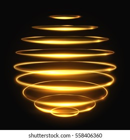 Gold circle light tracing effect, glowing magic 3d sphere vector illustration. Glowing magic bright neon, effect glowing energy element.