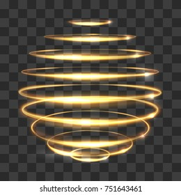 Gold circle light tracing effect, glowing magic 3d sphere isolated on transparent background. Vector illustration