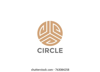 Gold Circle luxury fashion infinity Loop Logo design abstract vector template.