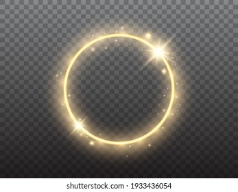 Gold circle on transparent backdrop. Glowing ring with yellow backlight. Round golden frame with bright glitter. Luxury element for advertising. Vector illustration.