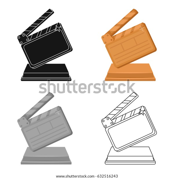 Gold clapperboard on stand.Award for best Director.Movie awards single icon in cartoon style vector symbol stock illustration.
