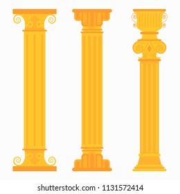 Gold classic columns for weddings, palaces. Decorative pillars vector flat icons set isolated on white background.