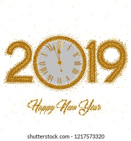 Gold clock with roman numerals on a circular gold ring clock with New Year numerals 2019 on a white background