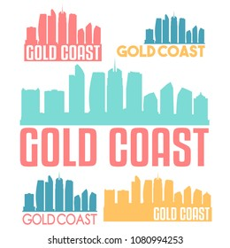 Gold Coast Australia Flat Icon Skyline Vector Silhouette Design Set Logos.