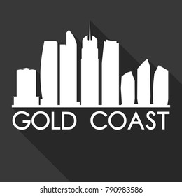 Gold Coast Australia Oceania Flat Icon Skyline Silhouette Design City Vector Art Famous Buildings