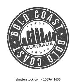 Gold Coast Australia Round Stamp Icon Skyline City Design