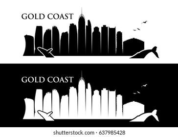 Gold Coast skyline - Australia - vector illustration