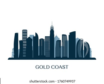 Gold Coast skyline, monochrome silhouette. Vector illustration.