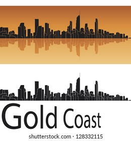 Gold Coast skyline in orange background in editable vector file