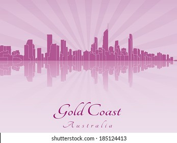Gold Coast skyline in purple radiant orchid in editable vector file
