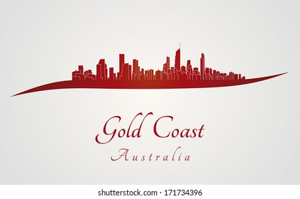 Gold Coast skyline in red and gray background in editable vector file