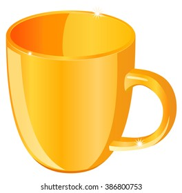 Gold coffee cup vector illustration