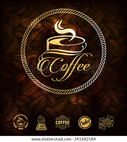 gold coffee label premium coffee labels stock vector royalty free