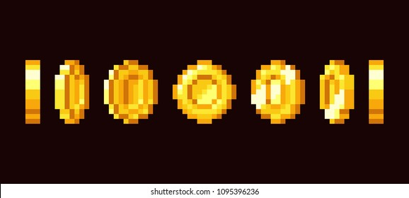 Gold coin animation frames for 16 bit retro video game. Pixel art vector set. Illustration of money vintage cash 8bit