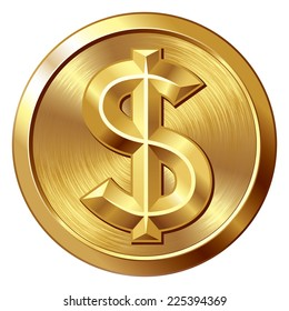 Gold coin with dollar sign. Eps8. CMYK. Organized by layers. Global colors. Gradients used.
