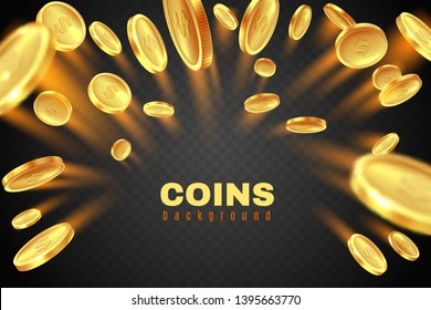 Gold coin explosion. Golden dollar coins rain. Game prize money splash. Casino jackpot financial symbol vector concept isolated on black background