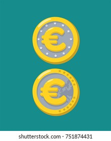 Gold coin icon with currency sign Euro.