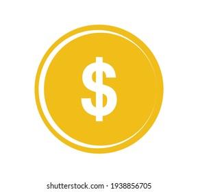 Gold coin icon. Money design. Gold dollar flat symbol. Vector illustration