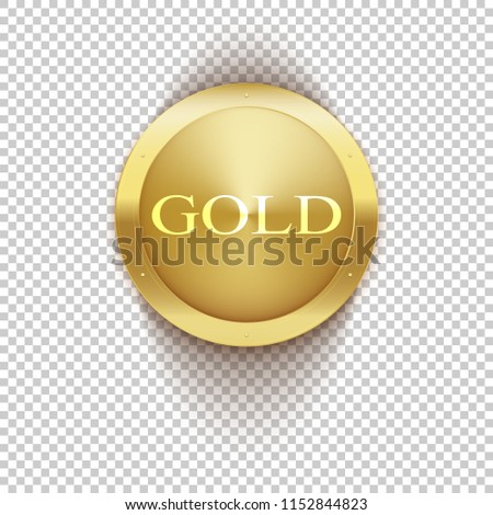 0dbe6735927d Gold coin isolated on transparent background. Lettering GOLD inside a  golden circle. Template vector